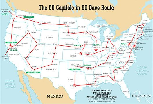 50 Capitols in 50 Days - USA Map